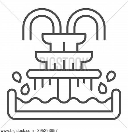Fountain With Pool And Splash Thin Line Icon, Aquapark Concept, Three-tiered Fountain Sign On White