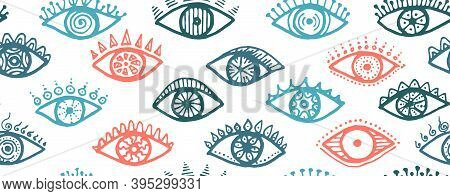 Doodle Human Eyes Vintage Repeatable Ornament. Pop Art Graphic Style Illustration. Mascara Wrapping