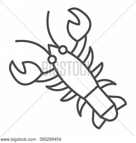 Crayfish Thin Line Icon, Fish Market Concept, Lobster Sign On White Background, Crawfish Icon In Out