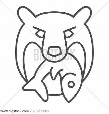 Bear Head With Fish Thin Line Icon, Marine Concept, Bear And Fish Company Logo Sign On White Backgro