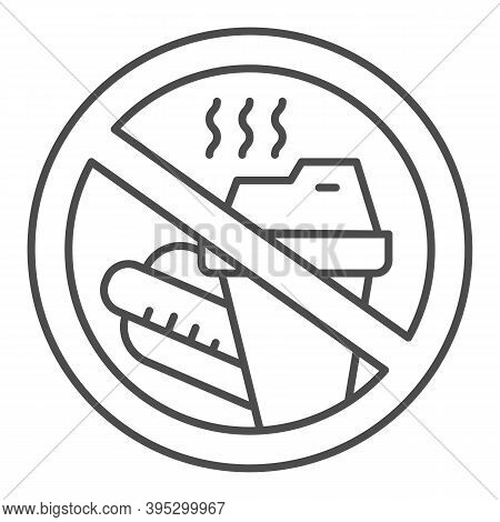 Prohibition Bring Food Thin Line Icon, Aquapark Concept, Do Not Bring Food Into The Area Sign On Whi