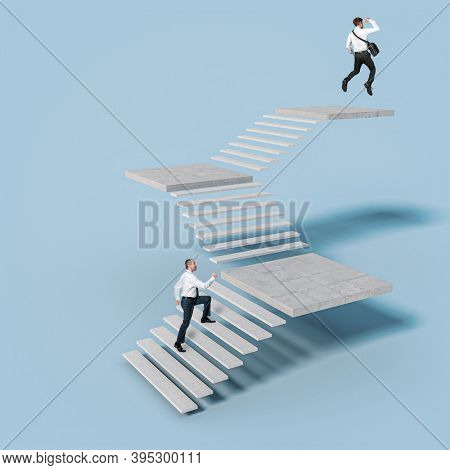 businesspeople climb the stairs leading to success. Man on top jumps for joy