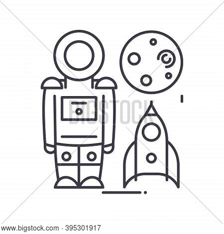 Spaceman Icon, Linear Isolated Illustration, Thin Line Vector, Web Design Sign, Outline Concept Symb