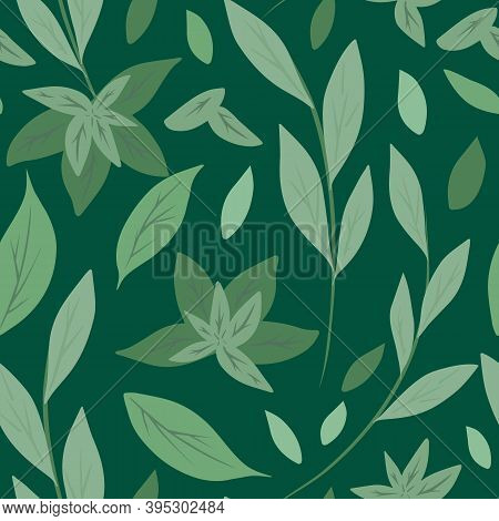 Seamless Pattern With Simple Green Leaves And Branches On Green Background. Herbal Natural Backgroun
