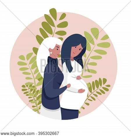 Homosexual Female Lgbt Couple. Two Gay Women Rejoice That They Will Have A Baby. Non-traditional Fam