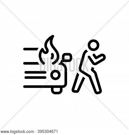 Black Line Icon For Sudden Unexpected Incident Accident Burning Danger Explosion Extinguish