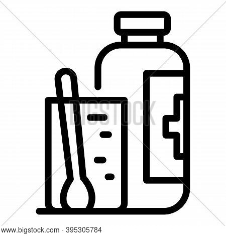 Tonsillitis Syrup Bottle Icon. Outline Tonsillitis Syrup Bottle Vector Icon For Web Design Isolated