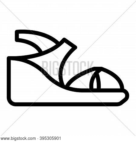 Leather Sandals Icon. Outline Leather Sandals Vector Icon For Web Design Isolated On White Backgroun