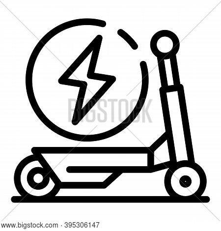 Electric Scooter Bike Icon. Outline Electric Scooter Bike Vector Icon For Web Design Isolated On Whi
