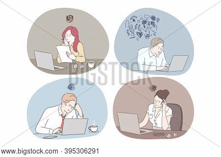 Online Work, Thinking During Work With Laptop In Office Concept. Young Business People Office Worker