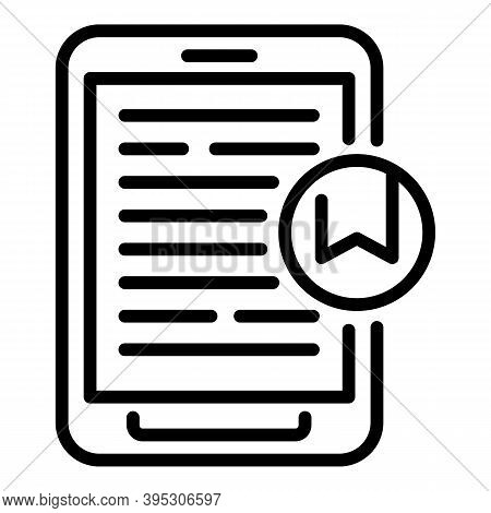 Ebook Page Mark Icon. Outline Ebook Page Mark Vector Icon For Web Design Isolated On White Backgroun