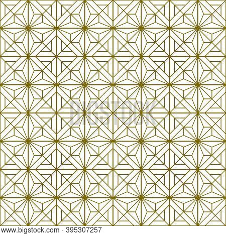 Japanese Seamless Kumiko Pattern In Golden Silhouette With Fine And Average Thickness Lines.