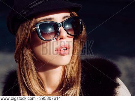 Beautiful Woman In Fur, Urban Style Accessories And Sunglasses. Lynx Fur Fashion Beauty. Model Looki