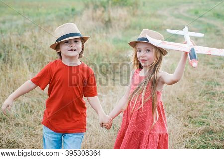 Summer Holidays - Love Romance And People Concept. Happy Children Enjoying Summer Vacation. Little C