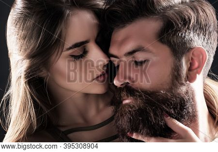 Happy Couple In Love Having Fun. Intimacy And Tenderness In Love. Romantic Portrait Of A Sensual Cou