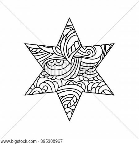 Coloring Pages For Adults And Children. A Hand-drawn Six-pointed Star With An Ethnic Abstract Patter