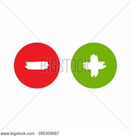 Plus And Minus Paint Drawn Buttons In Circle. Flat Vector Icons Isolated On White.