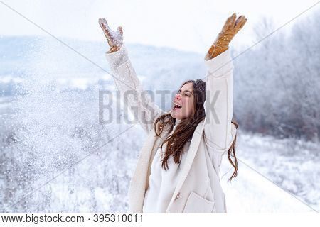 Enjoying The Weather And Snow. Happy Winter. Winter Woman On On Snowy Background. . Christmas, Winte