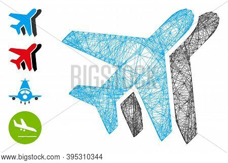 Vector Net Airlines. Geometric Linear Frame 2d Net Made From Airlines Icon, Designed From Crossing L