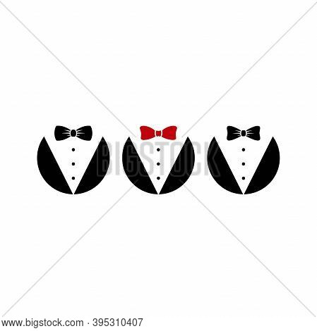 Gentleman Avatar Set Isolated On White Background. Bow Tie With Buttons And Black Suit Or Tuxedo.