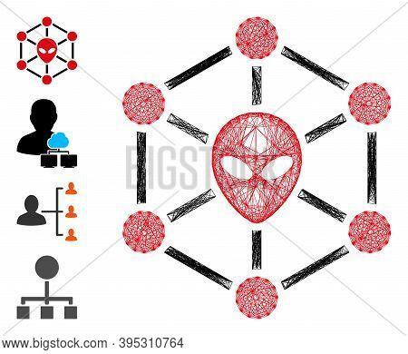 Vector Wire Frame Alien Network. Geometric Wire Frame 2d Network Based On Alien Network Icon, Design
