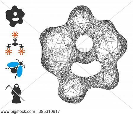 Vector Net Ameba. Geometric Linear Carcass 2d Net Generated With Ameba Icon, Designed With Crossing