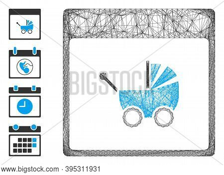 Vector Wire Frame Baby Carriage Calendar Page. Geometric Wire Frame Flat Net Made From Baby Carriage