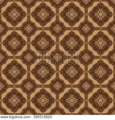 Simple Flower Motifs On Bantul Batik Design With Smooth Brown Color Concept.