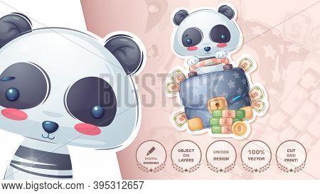 Panda With Diplomat - Cute Sticker. Vector Eps 10