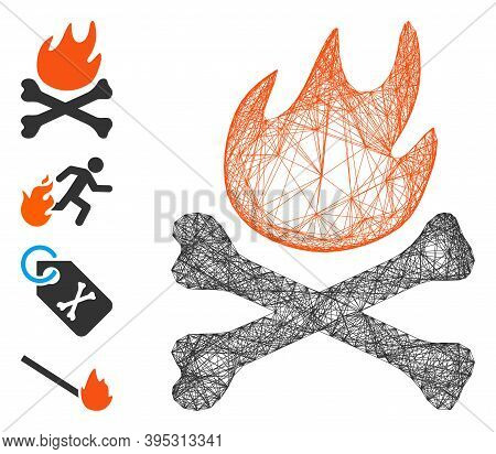 Vector Wire Frame Bones Hell Fire. Geometric Hatched Frame 2d Net Made From Bones Hell Fire Icon, De