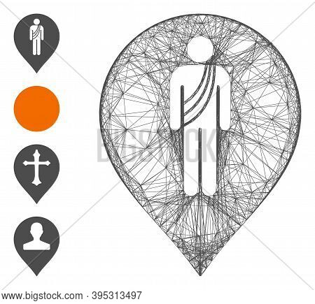 Vector Wire Frame Buddhist Monk Marker. Geometric Wire Frame Flat Net Generated With Buddhist Monk M