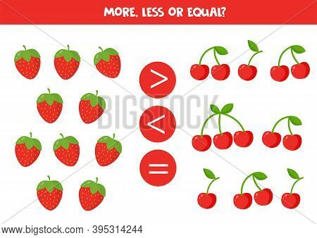 Count All Strawberries And Cherries. Compare Numbers.
