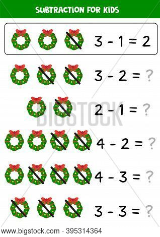 Subtraction Game For Kids With Cartoon Christmas Wreaths.