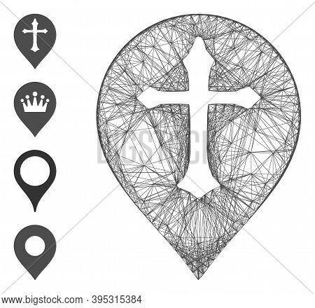 Vector Net Christian Cross Marker. Geometric Hatched Carcass 2d Net Made From Christian Cross Marker