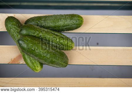 Cucumber Stands On A Wooden Crate In Front Of A White Background.