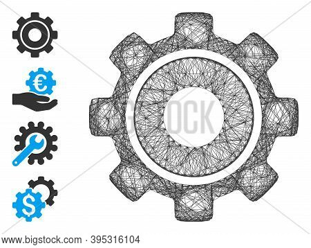 Vector Wire Frame Cog. Geometric Wire Carcass 2d Network Generated With Cog Icon, Designed With Inte
