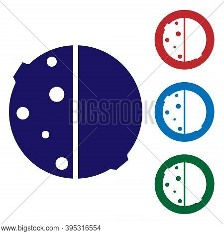 Blue Eclipse Of The Sun Icon Isolated On White Background. Total Sonar Eclipse. Set Icons In Color S