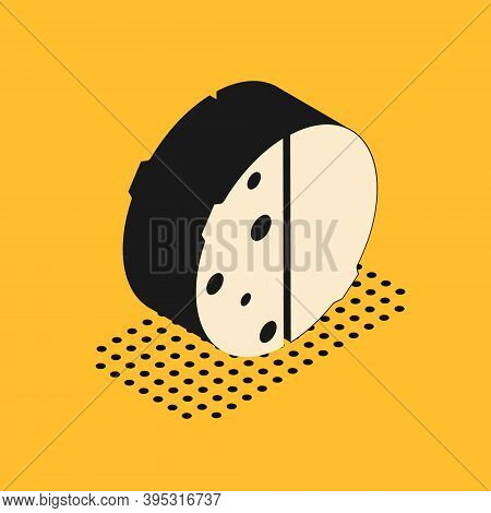 Isometric Eclipse Of The Sun Icon Isolated On Yellow Background. Total Sonar Eclipse. Vector Illustr