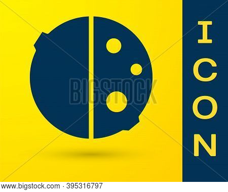 Blue Eclipse Of The Sun Icon Isolated On Yellow Background. Total Sonar Eclipse. Vector Illustration