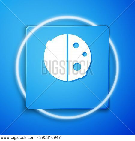 White Eclipse Of The Sun Icon Isolated On Blue Background. Total Sonar Eclipse. Blue Square Button.