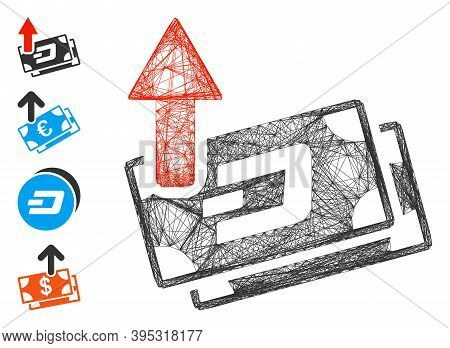 Vector Wire Frame Dash Banknotes Cashout. Geometric Hatched Frame Flat Net Generated With Dash Bankn