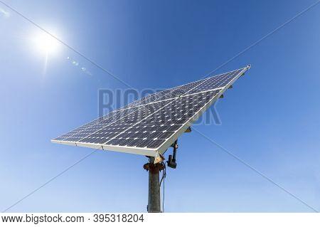 Solar Energy Concept. Photovoltaic Solar Panel. Green Energy, Eco Friendly, Earth Day Concept. Repre