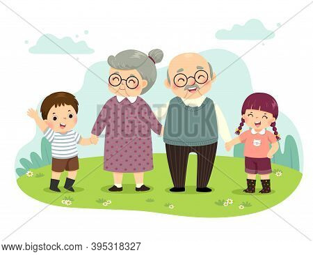 Vector Illustration Cartoon Of Grandparents And Grandchildren Standing Holding Hands In The Park. Ha