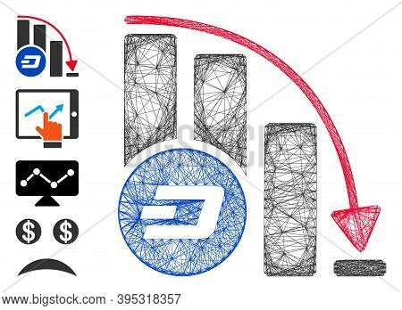 Vector Wire Frame Dashcoin Falling Acceleration Chart. Geometric Linear Frame 2d Net Made From Dashc