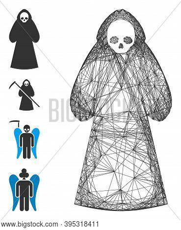 Vector Wire Frame Death Hood Man. Geometric Wire Frame Flat Net Based On Death Hood Man Icon, Design
