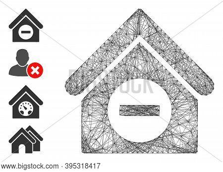 Vector Network Deduct Building. Geometric Hatched Carcass Flat Network Made From Deduct Building Ico