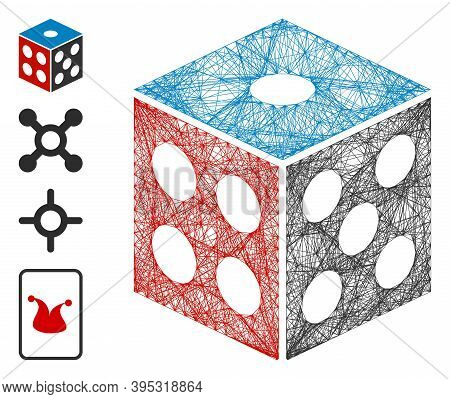 Vector Network Dice. Geometric Linear Carcass Flat Network Made From Dice Icon, Designed From Crossi