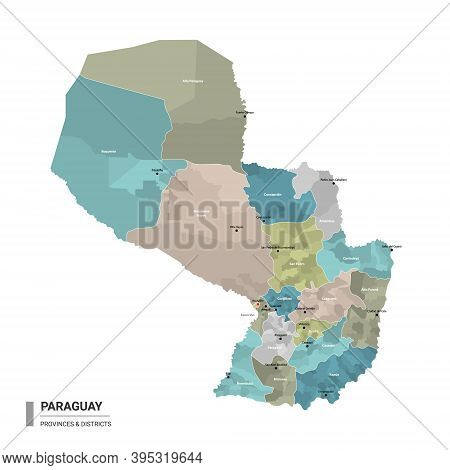 Paraguay Higt Detailed Map With Subdivisions. Administrative Map Of Paraguay With Districts And Citi