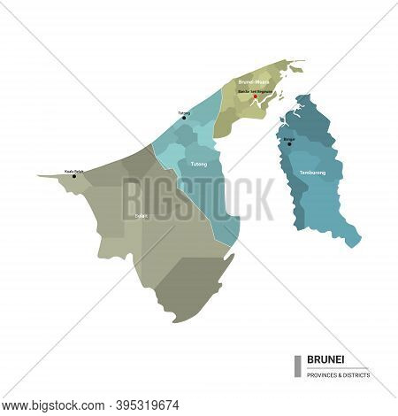 Brunei Higt Detailed Map With Subdivisions. Administrative Map Of Brunei With Districts And Cities N