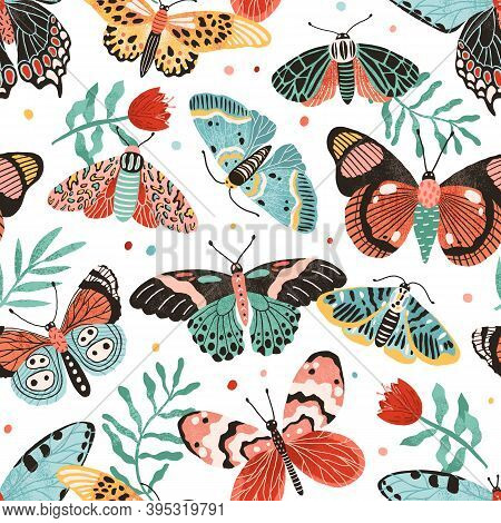 Seamless Pattern With Gorgeous Butterflies And Flowers Isolated On White Background. Decoration For
